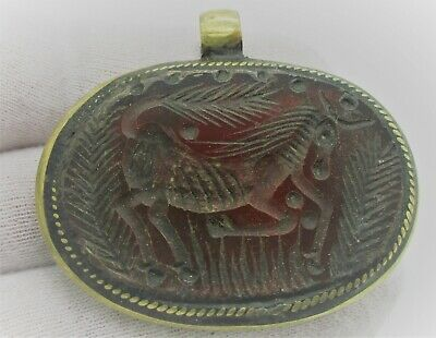 Beautiful Old Silver And Gold Gilt Amulet With Carnelian Stone Wearable