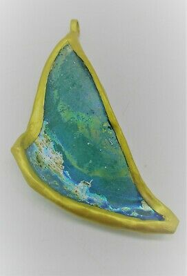Ancient Roman Glass Fragment In A Gold Gilded Frame Wearable Pendant