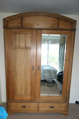 Antique Pine Double Wardrobe with Mirror and Drawers