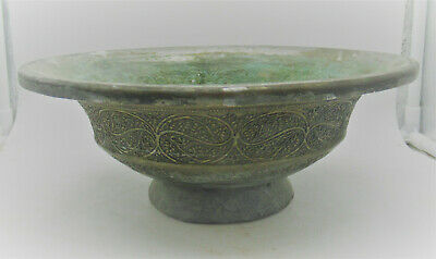 Museum Quality Ancient Islamic Silvered Decorated Vessel Circa 1200-1300Ad