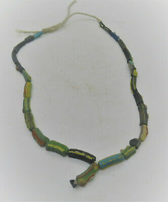 Ancient Roman Millefori Glass Beads Restrung Into A Necklace