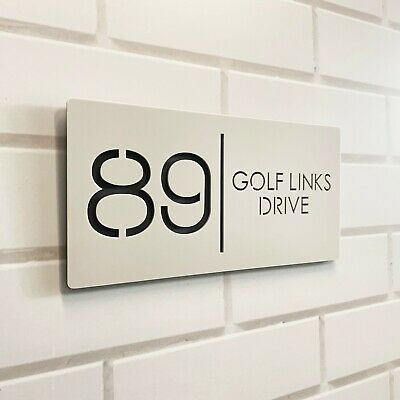 Personalised House Number Sign Plaque Street Name Black Acrylic