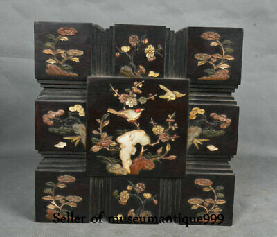 "10"" Old Chinese Redwood Wood Inlay Shell Flower Bird square jewelry Box cabinet"