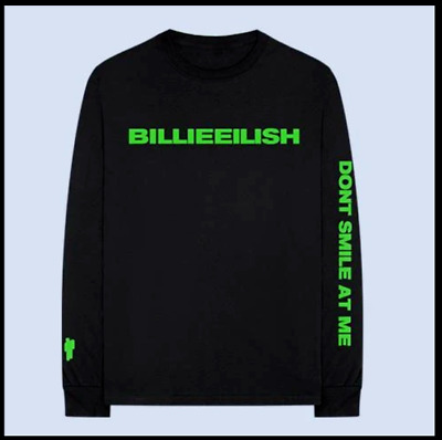 NEW BILLIE EILISH LONG SLEEVE TOP TEE DONT SMILE AT ME NEON inspired UK MADE
