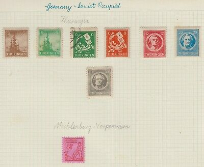 {Old 122} Germany Soviet Occupation Issue Thuringia Stamps From A Collection