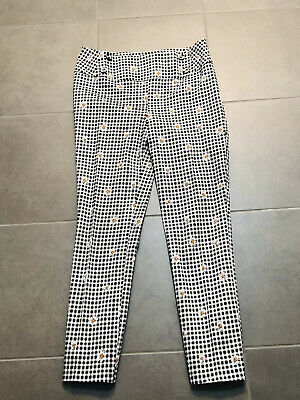 Review Black Check Pants With Daisies Size 6 As New