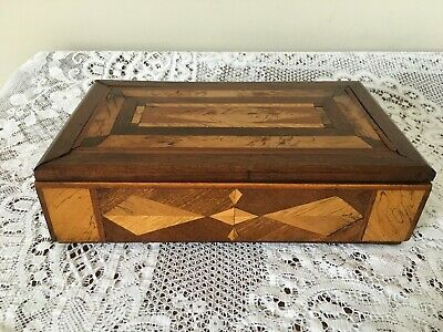 """Vintage Marquetry wooden box - 11.5"""" wide"""