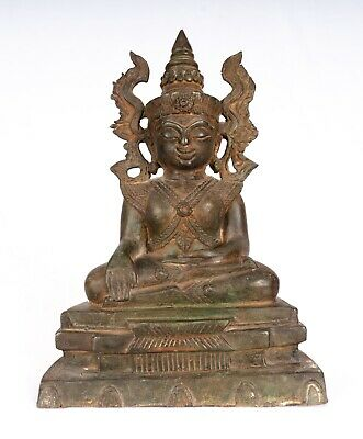 """Antique Burmese Style Shan Enlightenment Seated Buddha Statue - 28cm/11"""""""