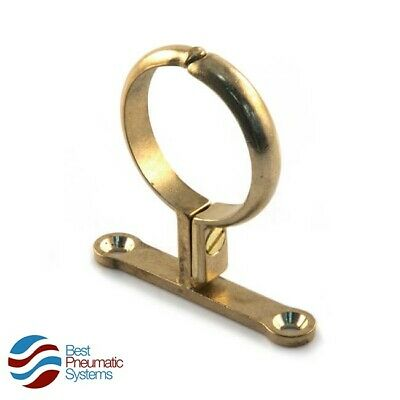 Brass School Board Pipe Clip - Pipe Clamp - Screwed Bracket - 3 Sizes Available