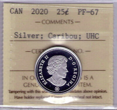 "2020 Canada 25 cent Silver Caribou; (UHC)Ultra Heavy Cameo ICCS PF-67 ""Last One"""