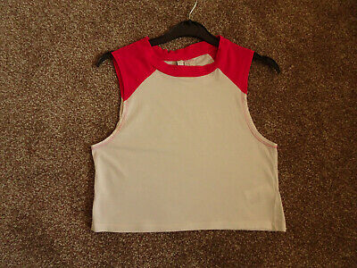 Top / Cropped Sports Top  Girls  White  & Pink  Sleeveles S    H&M Size Xs  Vgc