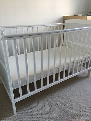 Baby White Wooden Cot Bed With Mattress Great Condition
