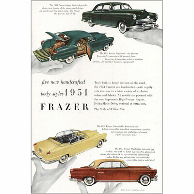 1951 Frazer: Five New Handcrafted Body Styles Vintage Print Ad