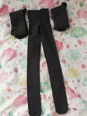 Girls M&S Grey Tights Age 4-5, 3 pairs