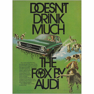 1974 Audi Fox: Doesn't Drink Much Vintage Print Ad