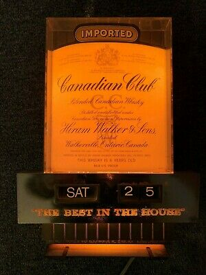 Vintage Canadian Club Lighted Sign  And Calendar