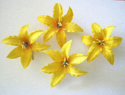 """4 pc Yellow Lily Silk Flower 3.5"""" Hair Clip Lot,Pin Up,Updo,Rockabilly,Hat"""