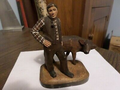 "Old Wood Carved 6"" Jewish Man w Yarmulke & Smoking Pipe & Cow Figure Folk Art"