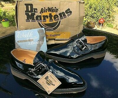 Vintage Dr. Martens black patent pointed monk shoes UK 9 EU 43 BNIB England RARE