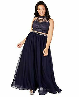 MSRP $139 Sequin Hearts Plus Size 2-Pc. Glitter Crochet Gown, Navy Size 16