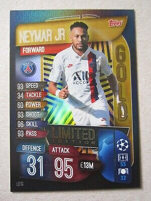 Match Attax CL 2019/20 Extra Ltd Edition Gold Neymar Jr of Paris Saint-Germain