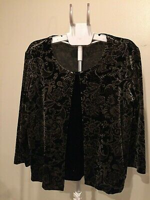 Briggs New York, Top, stretchable, SZ Petite Large, velour, attached front panel