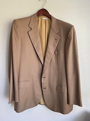 Brioni Tan Wool And Silk Two Button Blazer Sport Coat 40 R
