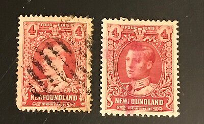 NEWFOUNDLAND postage stamps lot of 2 Variations of FOUR 4 CENTS