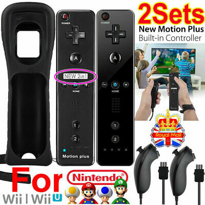 2X Remote & Nunchuck Controller with Motion Plus For NINTENDO WII & WII U BLACK