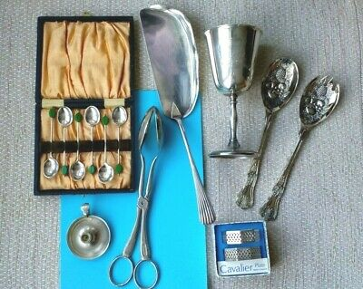 Vintage Silver Plated job lot Coffee spoons, Goblet, Tongs + Napkin RINGS UK