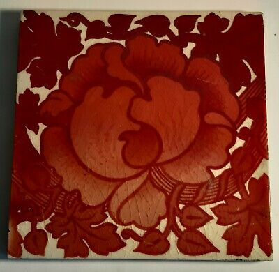Amazing Maw and Co red triple Lustre art Nouveau Peony tile 1900
