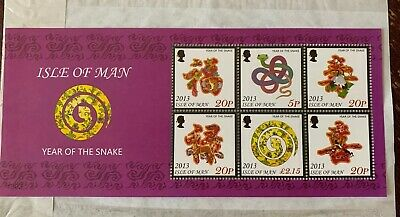 Isle Of Man 2013 Year Of The Snake Miniature Sheet  Unmounted Mint, Mnh