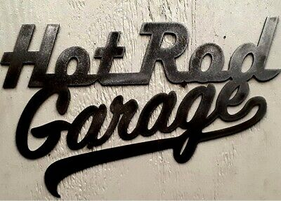 HOT ROD Garage Metal Tin Sign Vtg Look Man Cave Auto Shop Oil Gas Picture Gift