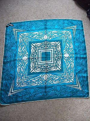 Ladies Silk Scarf Arts And Crafts Style 100% Silk Good Condition Blue/Green