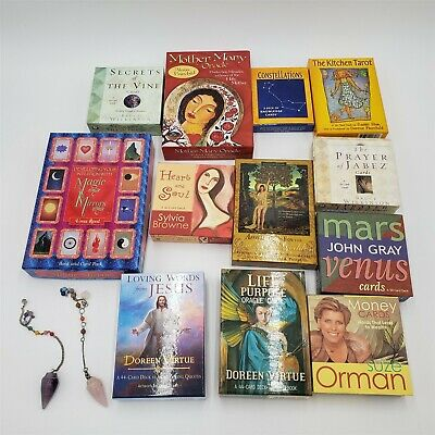 Tarot, Oracle, Spiritual, Self Help Cards, 2 chakra crystals, Doreen Virtue, LOT