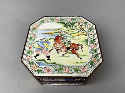 QianLong Marked Chinese Heavy Bronze & Enamel Covered Box