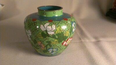 Antique Chinese cloisonne jar green late19th/early 20th century
