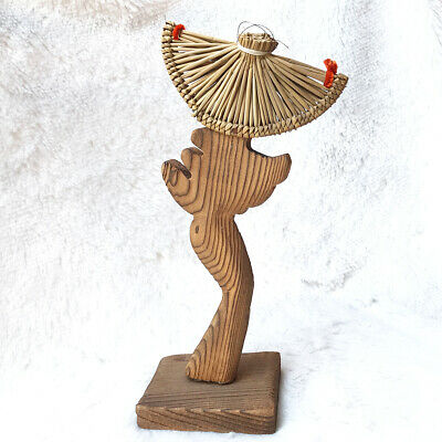 Japanese Vtg Kokeshi Doll Cryptomeria Wood Grain Carving Figurine Geisha Charm