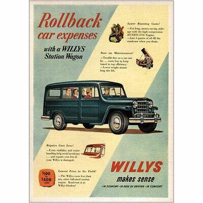 1951 WILLYS JEEP STATION WAGON BLUE TRUCK CAR Vintage Look REPLICA METAL SIGN