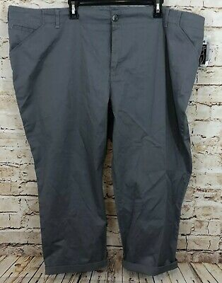 Lee womens 26W cropped chino pants gray capri new mid rise stretch D4