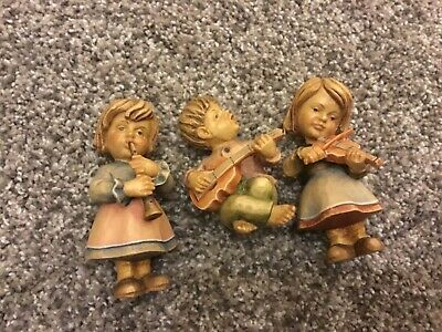 Vintage  Hand Carved ? Wood Lot of (3) Figurines Made In Italy- Children