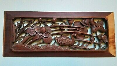 Chinese antique carved wooden furniture panel, 19th century, 13.75 x 5.5 inches