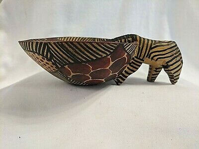 African Wood Bowl Zebra Drinking Water, Hand Carved Painted, 1 Piece of wood