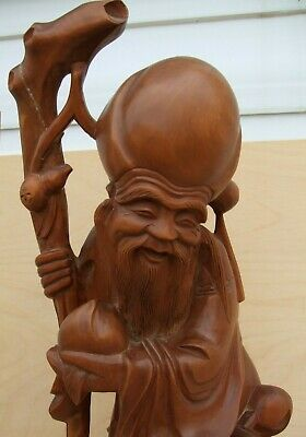Chinese Carved Wooden Bearded Immortal Figure Statue w/ Staff and small person.