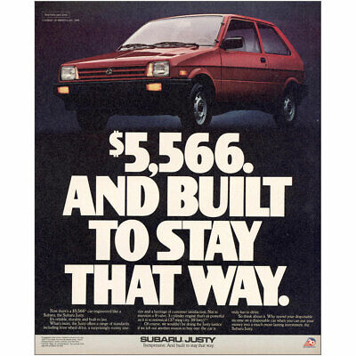 1987 Subaru Justy: Built To Stay That Way Vintage Print Ad