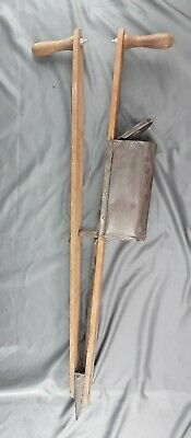 Antique Hand Corn Seed Planter wood and metal Primitive Farm ~  works