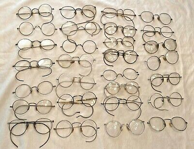 Antique LARGE LOT of Silver Tone / White Tone Eyeglasses SPECTACLES AS-IS