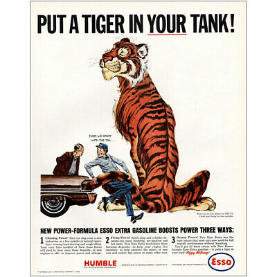 1964 Humble Esso Oil: Put a Tiger In Your Tank Vintage Print Ad