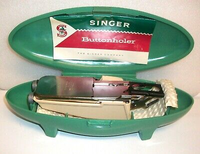1960 Singer Sewing Machine Buttonholer 489500/10 with 5 Cams in Green Case
