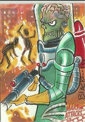 2016 Topps Mars Attacks Occupation Martian Burning People Sketch Card Dana Black